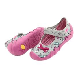 Befado obuwie dziecięce 109P204 różowe srebrny szare 4