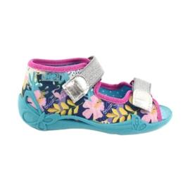 Befado obuwie dziecięce 242P098 niebieskie różowe srebrny 1