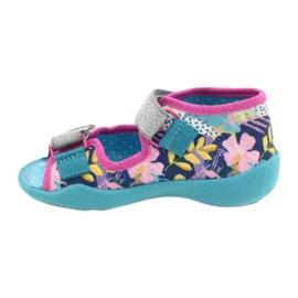 Befado obuwie dziecięce 242P098 niebieskie różowe srebrny 2