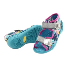 Befado obuwie dziecięce 242P098 niebieskie różowe srebrny 4