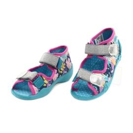 Befado obuwie dziecięce 242P098 niebieskie różowe srebrny 3