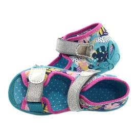 Befado obuwie dziecięce 242P098 niebieskie różowe srebrny 5