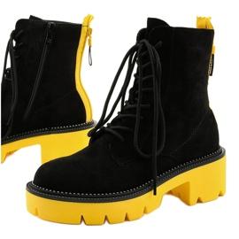 Czarne zamszowe botki sznurowane Centrifugal żółte 1