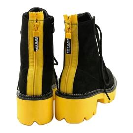 Czarne zamszowe botki sznurowane Centrifugal żółte 3