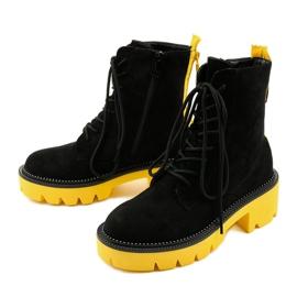 Czarne zamszowe botki sznurowane Centrifugal żółte 5