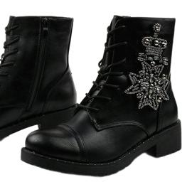 Czarne botki ze zdobieniami Shyvia M620 Black 1