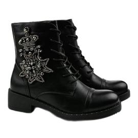 Czarne botki ze zdobieniami Shyvia M620 Black 3