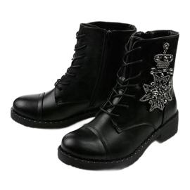 Czarne botki ze zdobieniami Shyvia M620 Black 2