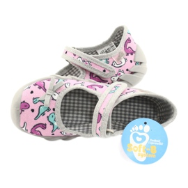 Befado obuwie dziecięce 109P205 różowe srebrny szare 5