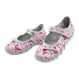 Befado obuwie dziecięce 109P205 różowe srebrny szare 3
