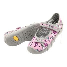Befado obuwie dziecięce 109P205 różowe srebrny szare 4