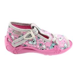 Befado obuwie dziecięce 213P120 różowe srebrny szare 2