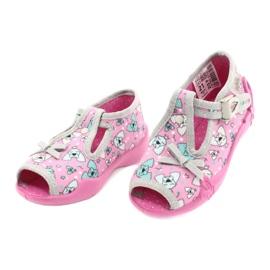 Befado obuwie dziecięce 213P120 różowe srebrny szare 4