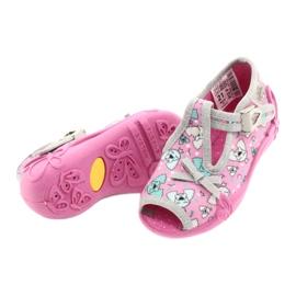 Befado obuwie dziecięce 213P120 różowe srebrny szare 5