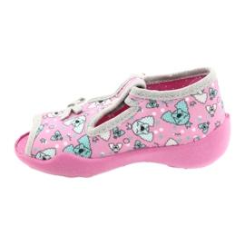 Befado obuwie dziecięce 213P120 różowe srebrny szare 3