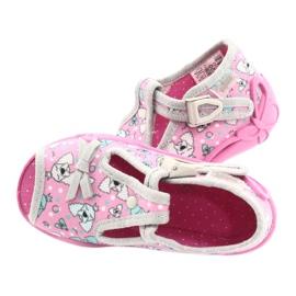 Befado obuwie dziecięce 213P120 różowe srebrny szare 6