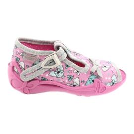 Befado obuwie dziecięce 213P120 różowe szare 1