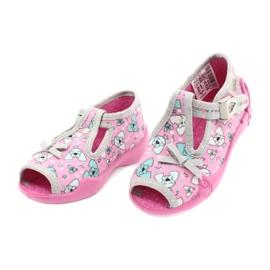 Befado obuwie dziecięce 213P120 różowe szare 3