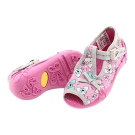 Befado obuwie dziecięce 213P120 różowe szare 4