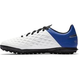 Buty piłkarskie Nike Tiempo Legend 8 Club Tf Junior AT5883 104 białe niebieskie 2