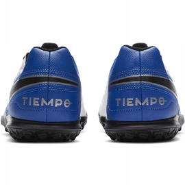 Buty piłkarskie Nike Tiempo Legend 8 Club Tf Junior AT5883 104 białe niebieskie 4
