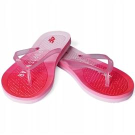 Klapki damskie 4F czerwone H4L20 KLD003 62S różowe 1