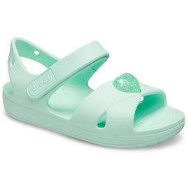 Crocs sandały dla dzieci Classic Cross Strap Sandal Ps neo miętowe 206245 3TI zielone 3