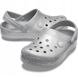 Crocs dla dzieci Crocband Glitter Clog Kids srebrne 205936 040 srebrny 2