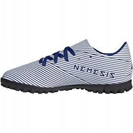 Buty piłkarskie adidas Nemeziz 19.4 Tf Junior biało-niebieskie FV3313 wielokolorowe 3