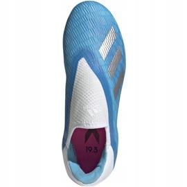 Buty piłkarskie adidas X 19.3 Ll Fg Junior niebieskie EF9114 niebieski,biały,srebrny 2