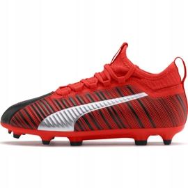 Buty piłkarskie Puma One 5.3 Fg Ag Junior czerwono czarne 105657 01 czerwone wielokolorowe 2