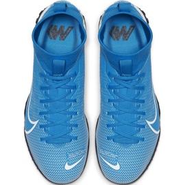 Buty piłkarskie Nike Mercurial Superfly 7 Academy Tf Junior AT8143 414 niebieskie wielokolorowe 1