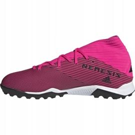 Buty piłkarskie adidas Nemeziz 19.3 Tf różowe F34426 czarne 1