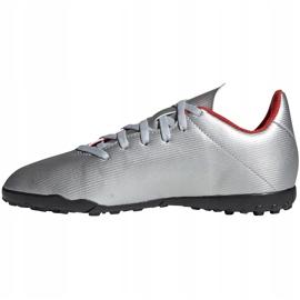 Buty piłkarskie adidas X 19.4 Tf Jr srebrne F35348 srebrny czerwone 3