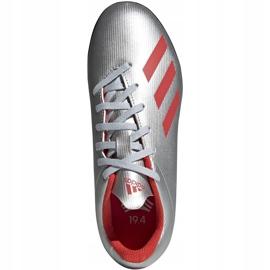 Buty piłkarskie adidas X 19.4 Tf Jr srebrne F35348 srebrny czerwone 2