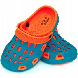 Klapki basenowe dla dzieci Aqua-speed Silvi kol 01 niebiesko pomarańczowe niebieskie 1