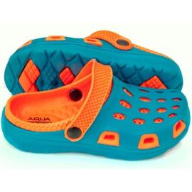 Klapki basenowe dla dzieci Aqua-speed Silvi kol 01 niebiesko pomarańczowe niebieskie 2