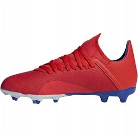 Buty piłkarskie adidas X 18.3 Fg Jr czerwone BB9371 wielokolorowe 2