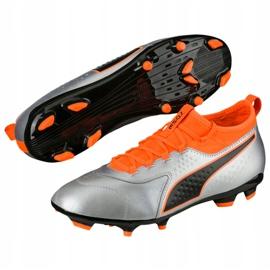 Buty piłkarskie Puma One 3 Lth Fg szaro-pomarańczowe 104743 01 szare wielokolorowe 2