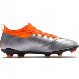 Buty piłkarskie Puma One 3 Lth Fg szaro-pomarańczowe 104743 01 szare wielokolorowe 5