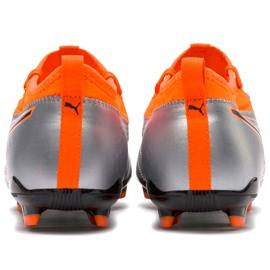 Buty piłkarskie Puma One 3 Lth Fg szaro-pomarańczowe 104743 01 szare wielokolorowe 3