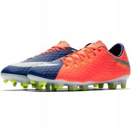Buty piłkarskie Nike Hypervenom Phelon Iii Fg 852556 409 pomarańczowe czarny, fioletowy, pomarańczowy 3