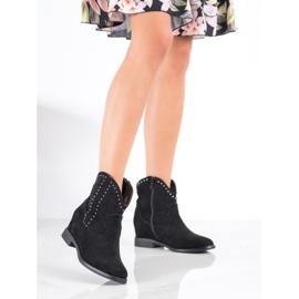 Ideal Shoes Modne Czarne Kowbojki 2
