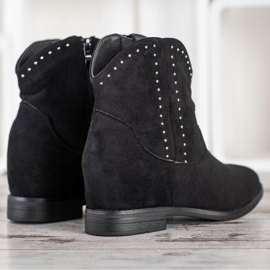Ideal Shoes Modne Czarne Kowbojki 3