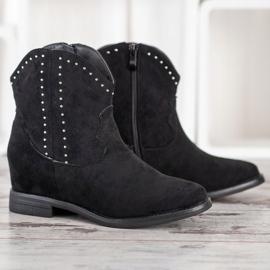 Ideal Shoes Modne Czarne Kowbojki 4