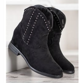 Ideal Shoes Modne Czarne Kowbojki 5