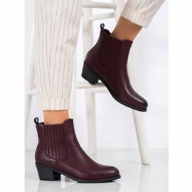 Ideal Shoes Klasyczne Wsuwane Botki czerwone 1
