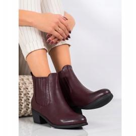 Ideal Shoes Klasyczne Wsuwane Botki czerwone 3