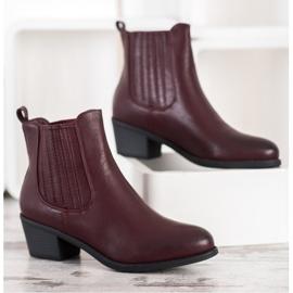Ideal Shoes Klasyczne Wsuwane Botki czerwone 2