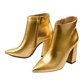 Złote botki na słupku suwak Adrietina złoty 1